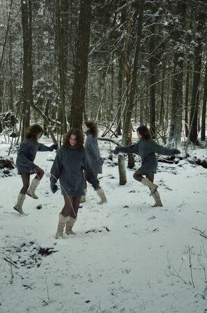 woodland  horror: girl in forest, winters tale, winter walk in the woods