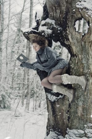 log book: girl in forest, winters tale, winter walk in the woods