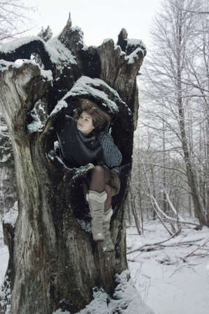 winter's tale: girl in forest, winters tale, winter walk in the woods