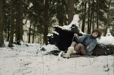 girl in forest, winters tale, winter in the woods Stock Photo