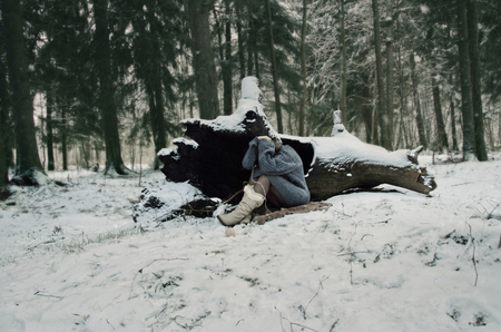 winter's tale: girl in forest, winters tale, winter in the woods Stock Photo