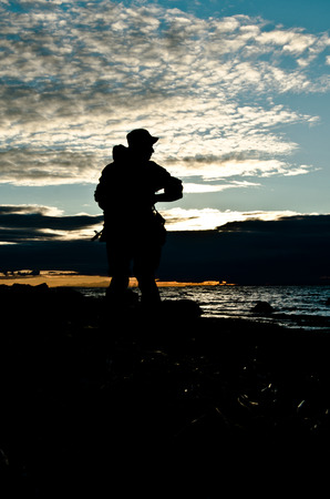 militarily: military silhouette at sunset