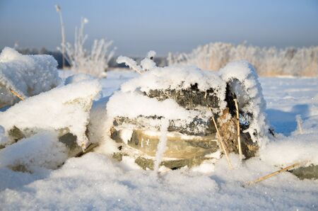 icily: layers of ice out of water Stock Photo