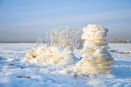 icily: snow Fort on the shore of a frozen lake Stock Photo