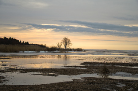 mud snow: early winter sunset on the background of the freezing landscape Stock Photo