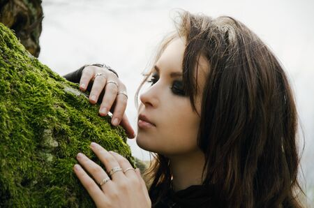 face in tree bark: witch and old tree, image embodies the witch or elf. Fantasy Stock Photo
