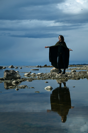 brandish: girl on a rocky shore, fantasy image of the elf on the sea shore