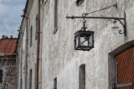 electric material: broken lights lamp, courtyard of the castle