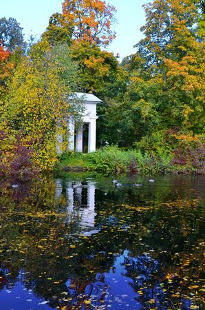 dabbling: Gazebo in autumn Park, Rotunda, architect Rossi. Yelagin island
