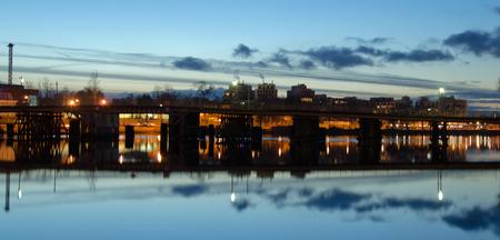whitw: whitw night, bridge in twilight Stock Photo