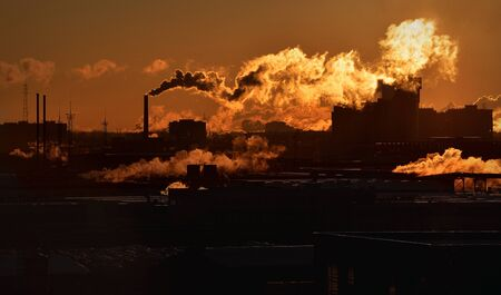 large build: Factory enterprise, environmental pollution, Industrial zone Stock Photo