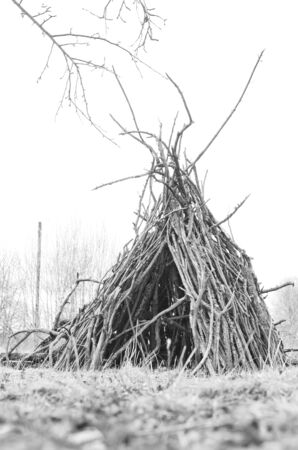 hut made of branches