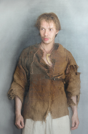 young man in medieval peasant costume Reklamní fotografie