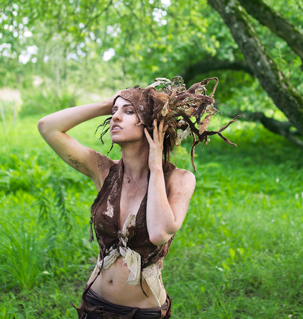 Dryad in the old garden Stock Photo