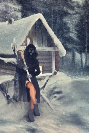 someone in a gas mask sitting around the hut with tongs in hands -illustration Stock Photo