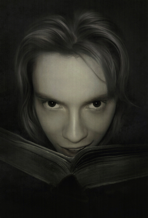 grinning young man with an old book in his hands - illustration