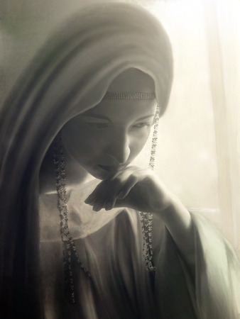 stylized portrait being sad Princess in vintage clothing and hood