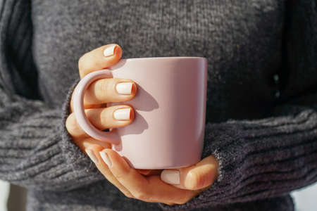 beautiful female hands with well-groomed white manicure are holding a mug of hot drink. The position of the hands is frontal, against the background of a warm knitted gray sweater