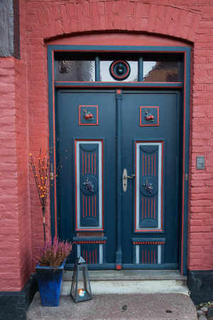 Old Colorful Blue Door in Ribe, Denmark