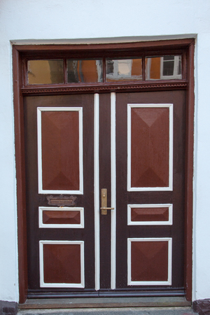 Old Colorful Brown Door in Ribe, Denmark photo