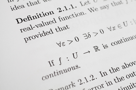 Math Expression about Continuity of Functions Stock Photo