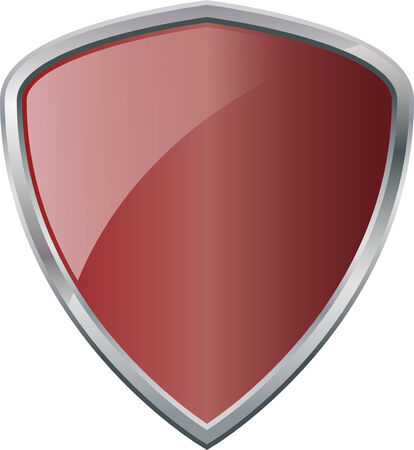 Glossy Shiny Shield Burgundy Red with Silver Border Vector Drawing eps10