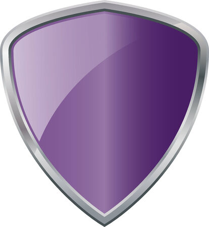 Glossy Shiny Shield Purple with Silver Border Vector Drawing eps10