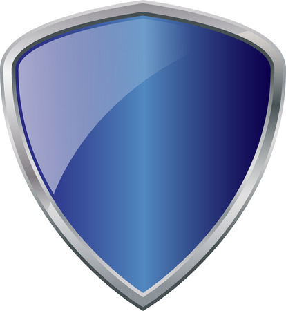Glossy Shiny Shield Blue with Silver Border Vector Drawing eps10 Vector