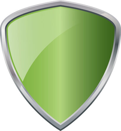 Glossy Shiny Shield Green with Silver Border Vector Drawing eps10
