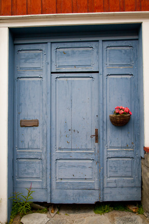 Blue Colorful Door in Old House Stock Photo
