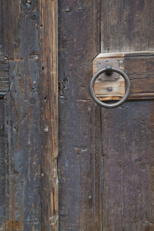 Door Handle Ring on Old Wooden Dor photo