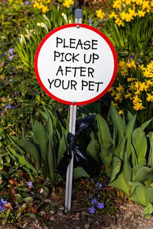 shit: Polite Dog Shit Sign Stock Photo