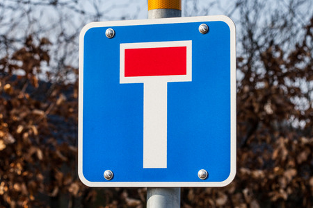 European Blue Dead End Traffic Sign photo