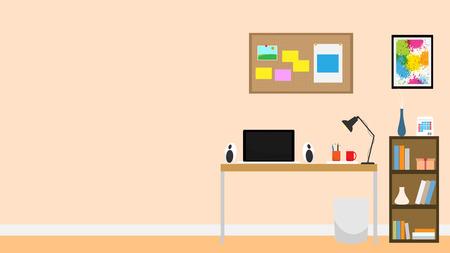 Interior room office notebook vector background flat design Vectores
