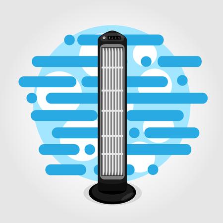 Fan tower cooler flat vector