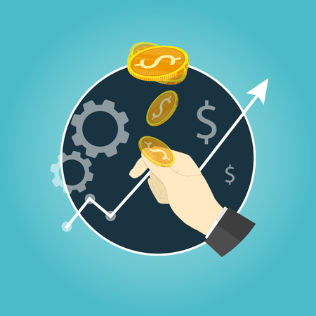 Tossing a coin risk business vector