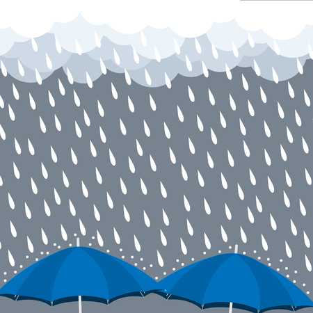 Blue Umbrellas with heavy rain drop vector illustration.