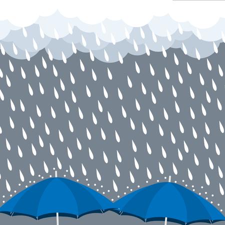 Blue Umbrellas with heavy rain drop vector illustration.