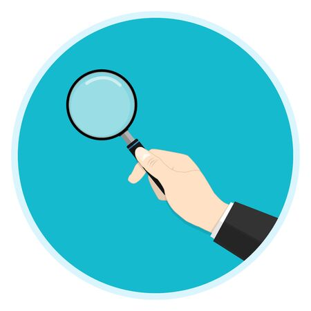 hand holding magnifying glass  vector