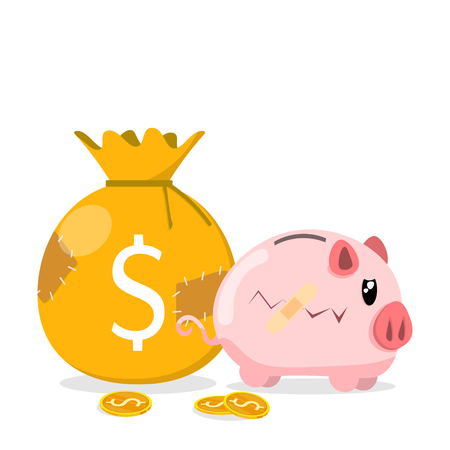 coin bag sack patch poor pig bank bandage,gold coins flat vector