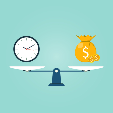 scale with time and bag of gold coin flat Vector illustration. Illustration