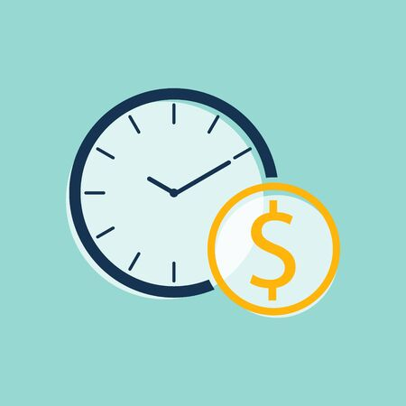 time and money  flat vector
