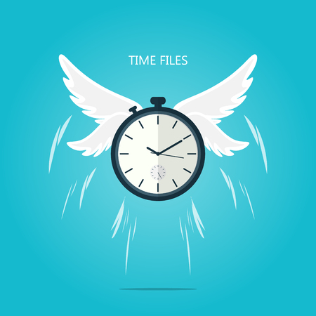 time flies wing flat vector Vettoriali