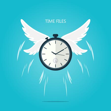 time flies wing flat vector 向量圖像