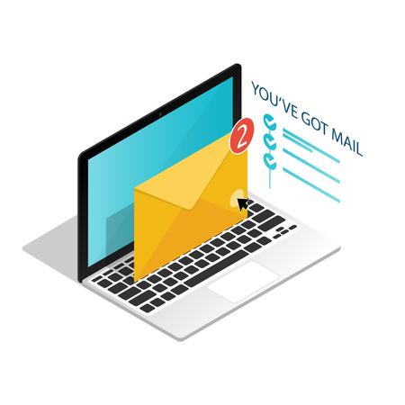 Sie haben Post, isometrischer E-Mail-Laptopbenachrichtigungsvektor