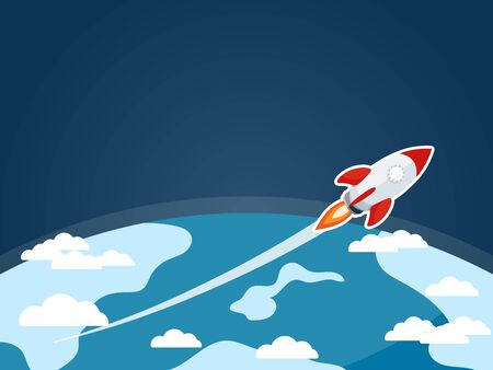 Rocket in outer space vector illustration