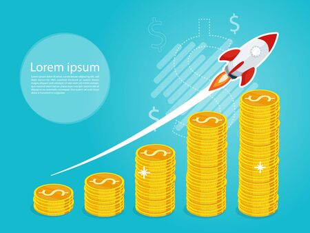 Rocket fast start up launching concept vector illustration