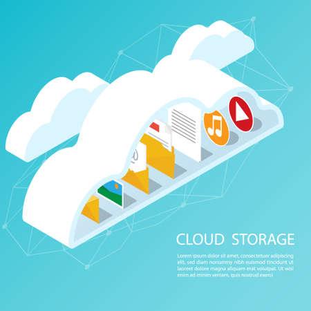 Isometric computer smartphone,upload cloud storage backup anywhere vector