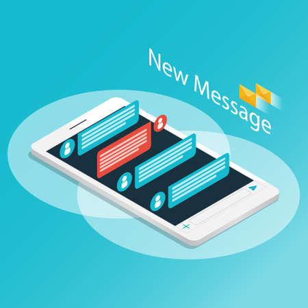 Isometric smartphone new message chat application vector