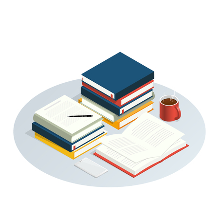 isometric book reading vector